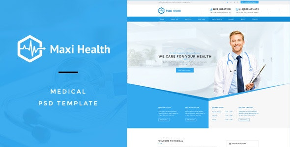 Maxi Health : Medical & Health PSD Template - Business Corporate