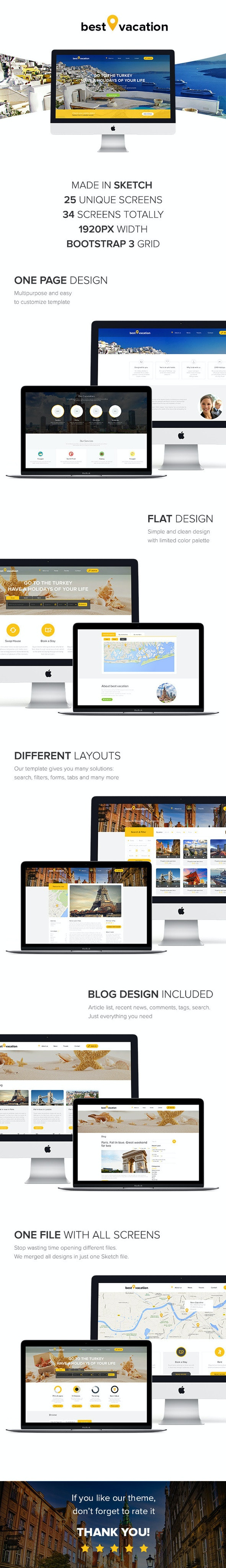 Best Vacation - Holiday Web Sketch Template - Sketch UI Templates