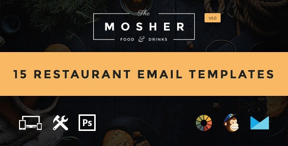 Mosher - Food & Drink Email Template  + Builder Access - Email Templates Marketing