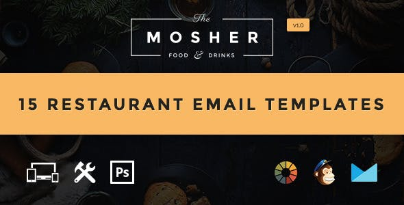 Mosher - Food & Drink Email Template  + Builder Access