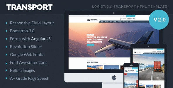 Transport - Logistic, Transportation & Warehouse HTML5 Template - Business Corporate