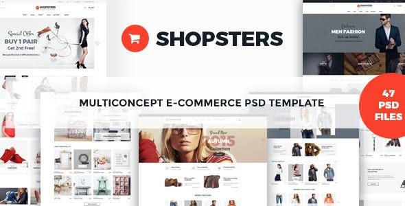 Shopsters - Multiconcept E-commerce PSD Template - Retail PSD Templates