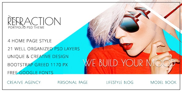 Refraction — Unique & Creative PSD Theme - Portfolio Creative