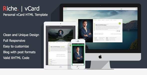 Riche vCard | Personal vCard HTML Template - Virtual Business Card Personal