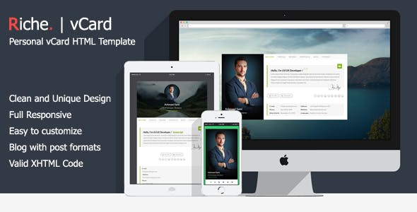 Riche vCard   Personal vCard HTML Template