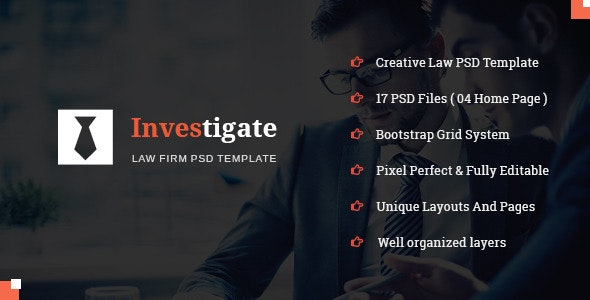 Investigate - Lawyer and Attorney PSD Template - Business Corporate