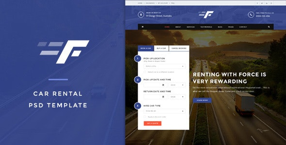 Force - Car Rental & Service PSD Template - Business Corporate