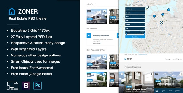 Zoner - Real Estate PSD Template - Business Corporate
