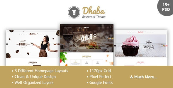 Dhaba - Restaurant, Coffee and Cake Shop PSD - Restaurants & Cafes Entertainment