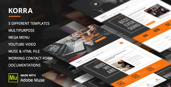 Korra - Clean and Modern  Muse Template - Corporate Muse Templates