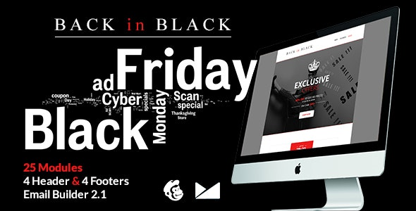 Back in Black Email Template + Online Builder 2.1 - Catalogs Email Templates
