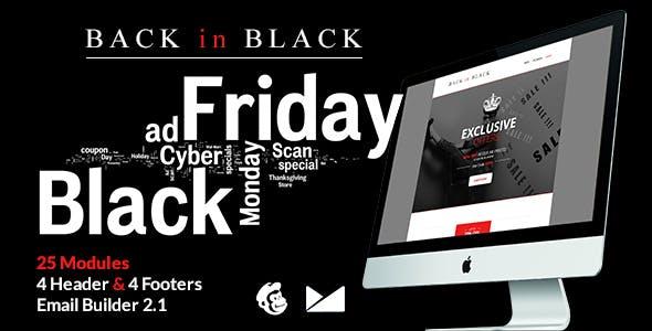 Back in Black Email Template + Online Builder 2.1