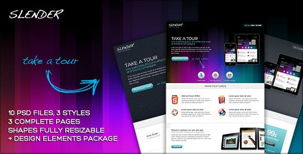 SLENDER - Take a tour micro site PSD template - Corporate Photoshop