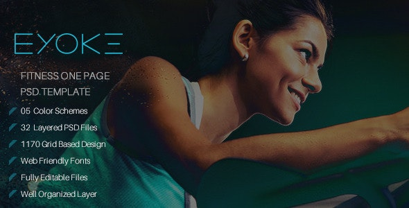 Eyoke - Fitness Onepage PSD Template - Health & Beauty Retail
