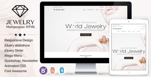 Jewelry - eCommerce Responsive HTML5 Template - Health & Beauty Retail