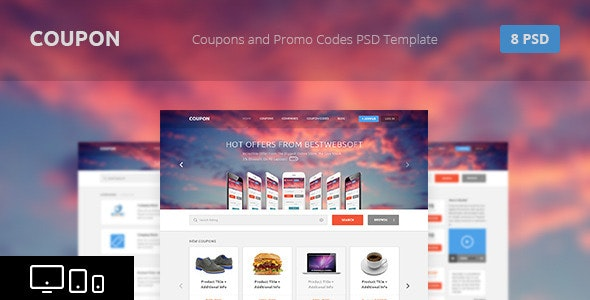 Coupon - Coupons and Promo Codes PSD Template - Retail Photoshop