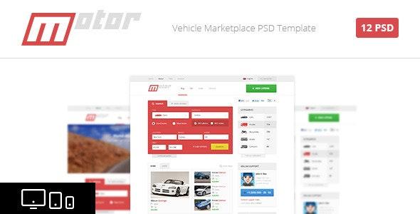 Motor - Vehicle Marketplace PSD Template - Retail Photoshop