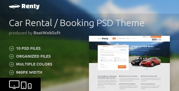 Renty - Car Rental & Booking PSD Template - Retail Photoshop
