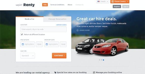 Renty - Car Rental & Booking PSD Template
