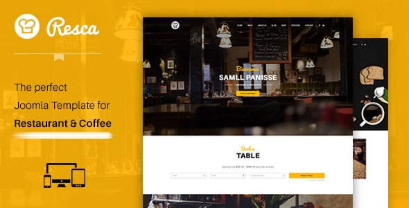 Joomla Restaurant Template - Resca - Restaurants & Cafes Entertainment
