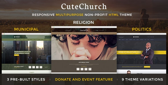 CuteChurch — Religion Responsive HTML Theme - Churches Nonprofit