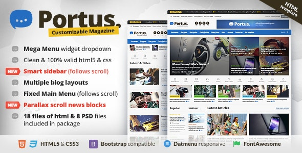 Portus - Responsive Blog & Magazine HTML Theme - Technology Site Templates