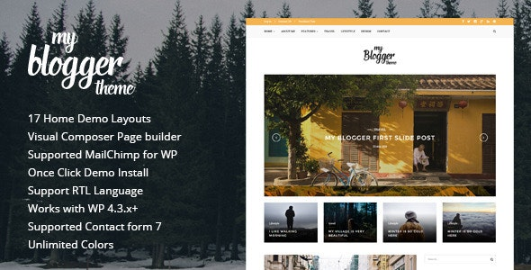 Myblogger - Responsive WordPress Blog Theme - Personal Blog / Magazine