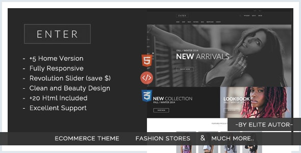 Enter - eCommerce Fashion Responsive html5 template - Shopping Retail