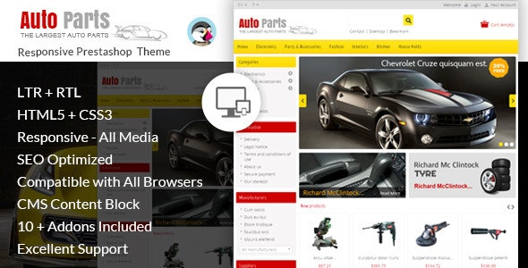 Auto Parts - Tools Prestashop Theme - PrestaShop eCommerce