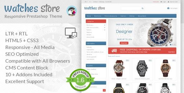Watches Store - Prestashop Responsive Theme - Technology PrestaShop