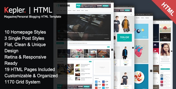 Kepler - Magazine/Personal Blogging HTML Template by Hamzh
