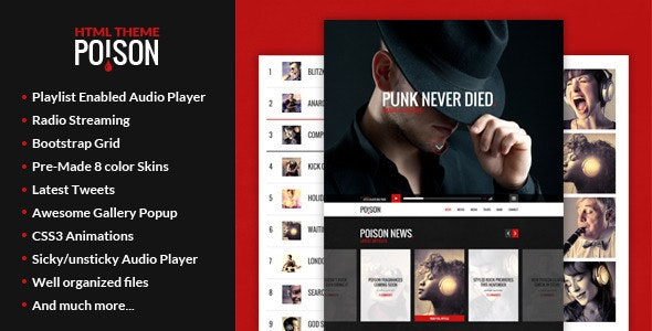 Poison - Music HTML One Page Template - Music and Bands Entertainment