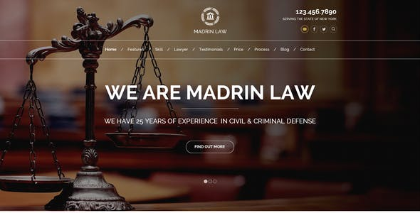 Madrin | One Page Law Firm HTML Template