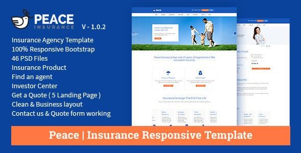 Peace – Insurance Responsive HTML Template. - Business Corporate