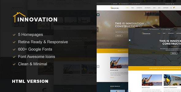 Innovation - Construction, Building HTML Template - Business Corporate