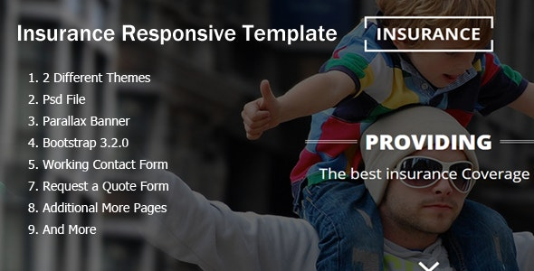Insurance Responsive HTML5 Template - Landing Pages Marketing