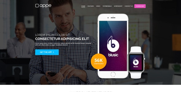 Appe - App Landing Page for Mobile & Watch - Apps Technology