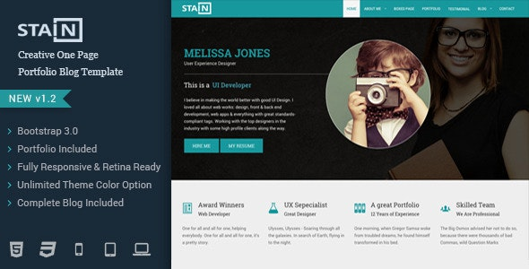Stain - Creative One Page Portfolio Blog Template - Portfolio Creative