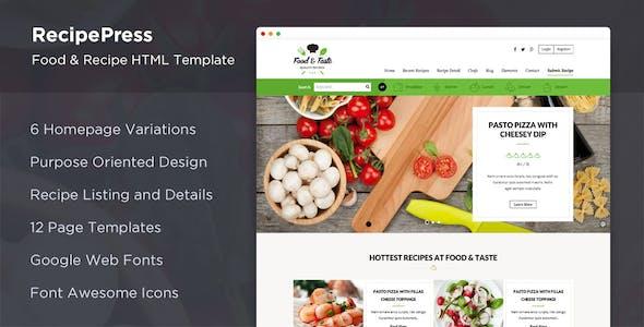RecipePress - Food & Recipes Premium HTML Template