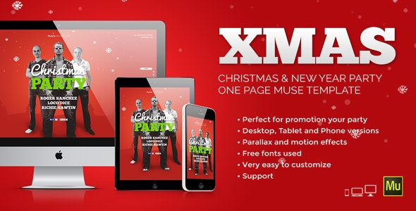 XMas - Christmas / New Year Party Muse Template - Creative Muse Templates
