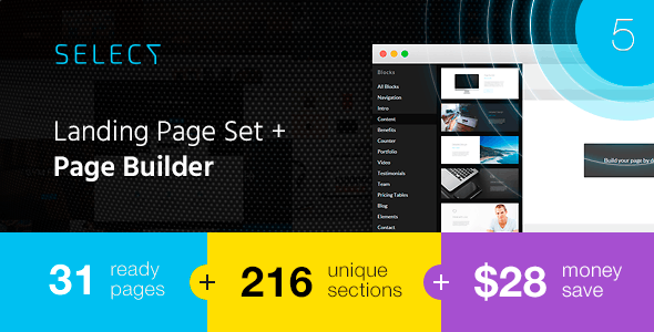 Select - Landing Page Set with a Builder - Landing Pages Marketing