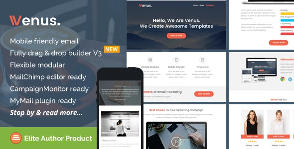 Venus, Multipurpose Email Theme + Builder Access - Newsletters Email Templates