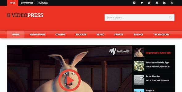 Video Streaming Website Templates from ThemeForest