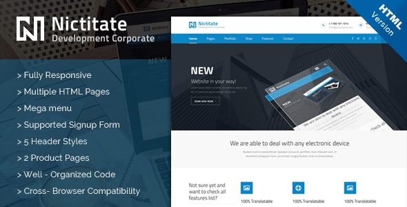 Nictitate - HTML5 Template - Corporate Site Templates