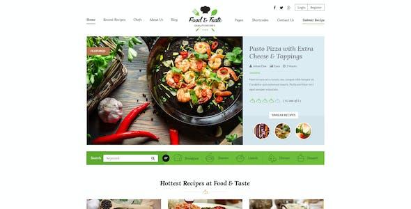 Food & Taste - Recipe PSD Template