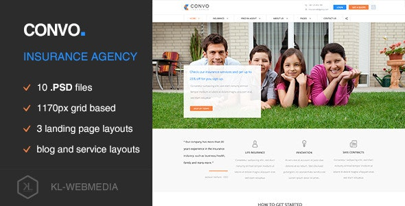 Convo - Insurance Agency PSD Template - Miscellaneous Photoshop
