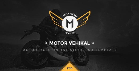 Motor Vehikal - Motorcycle Online Store PSD - Retail Photoshop