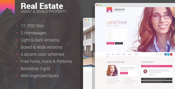Real Estate - Agent & Single Property PSD template - Business Corporate