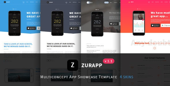 ZurApp - Multiconcept App Showcase Template - Technology Site Templates