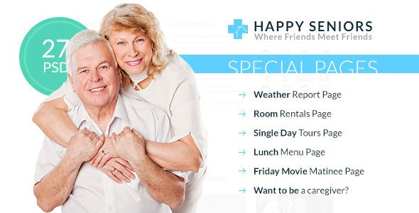 Happy Seniors - Senior Care PSD Template - Creative PSD Templates